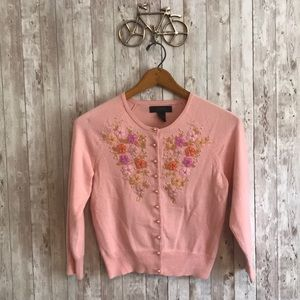 Express pink cardigan with beaded flowers